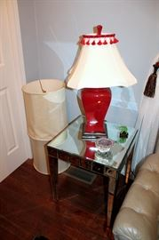 Mirrored end table, red lamp