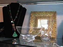 Steuben crystal bowl and vase