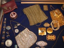 Vintage mesh & sequinned purses, compacts, jewelry