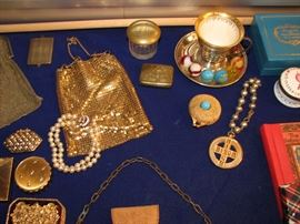 Vintage mesh & sequinned purses, compacts, jewelry, marbles, lenox sterling and more