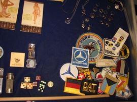 dice, militaria, patches