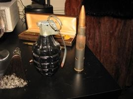 trench art - paperweights (grenade & 50 cal shell)