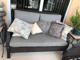 BEAUTIFUL HAMPTON BAY SOFA WITH CUSHIONS & PILLOWS