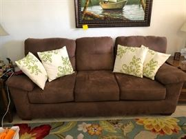 VERY NICE CHOCOLATE MICROFIBER SOFA  WITH MATCHING LOVE SEAT. LIKE NEW CONDITION
