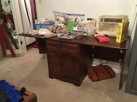 Sewing Machine, Cabinet & Misc