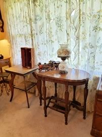 Oak Square table and 1940's table