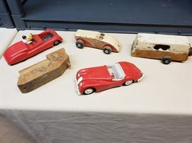 Antique plastic and wood toys.
