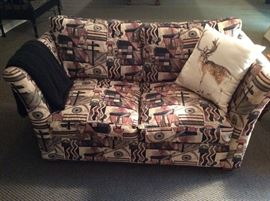 Custom Loveseat Sofa, Frank Lloyd Wright Fabric Pattern