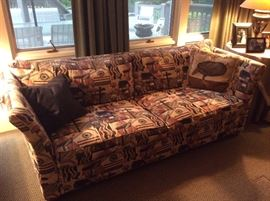 Custom Sofa, Frank Lloyd Wright Fabric Pattern