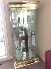 Pair of Curio Cabinets, Glass & Brass