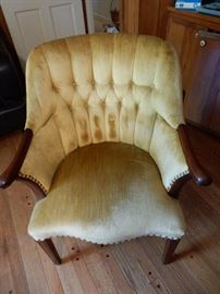 Chair, Mahogany Frame, Gold Velvet Upholstery, Button Back