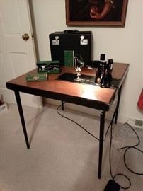 Singer 221 Featherweight with Table and Attachments
