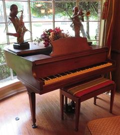 Cable Nelson 1920's baby grand piano with bench