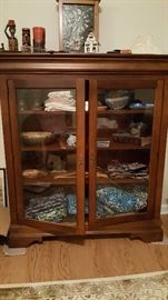 Antique display cabinet and contents