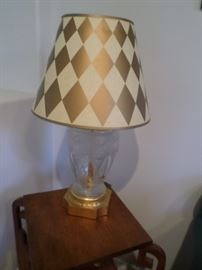 Harlequin Shade on frosted Lalique style  Lamp