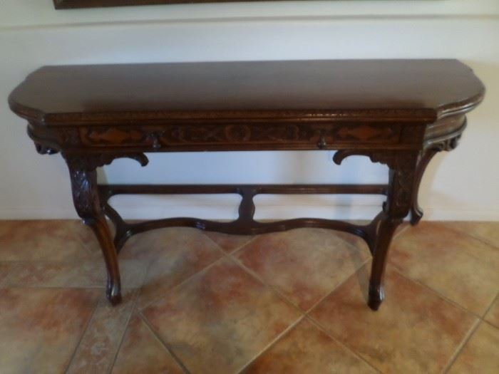 """Exquisite Antique 5' 6"""" Hand Carved  Trestle Entry Table orSide table with drawer"""