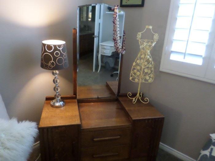 Art Deco vanity chest with elongated mirror