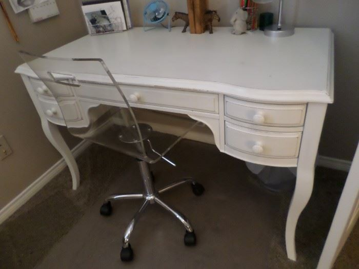 White 5 drawer desk, lucite  desk chair on casters