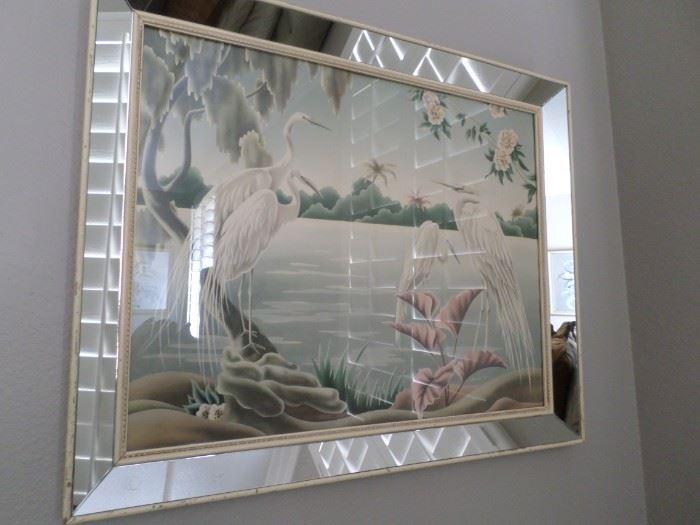 Vintage Flamingo Print in Mirrored Frame