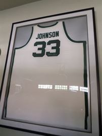 Magic Johnson High School Jersey Signed and Framed