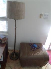 Free standing Lamp & 4 legged Leather Ottoman