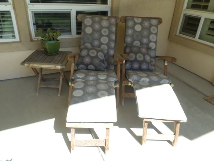 Teak Loungers with Pads and Side Table