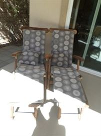 Pr. Teak Patio Loungers with Pads