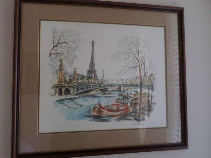 Original Watercolor of Paris signed