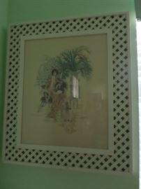 Circa 1975 Signed work in lattice frame