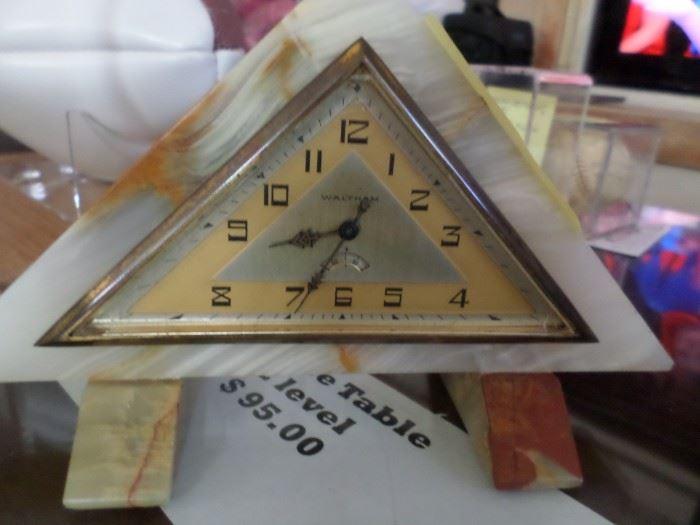 Art Deco Waltham Marble Clock on Marble Base