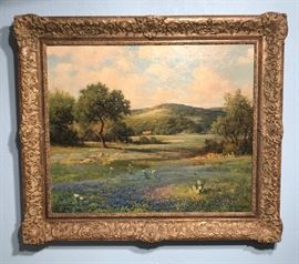 """Robert William Wood  Size is 25"""" x 30""""  One of his best bluebonnet paintings we have ever seen.. in a period newcomb Macklin Frame.."""