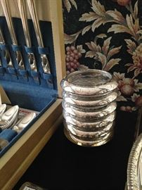Silver plate and glass coasters