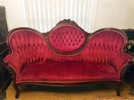 Vintage American Victorian Tufted red sofa. $125. (There are also 2 matching red chairs)