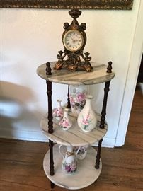 American Victorian Three Tiered Marble and Mahogany Side Table $45