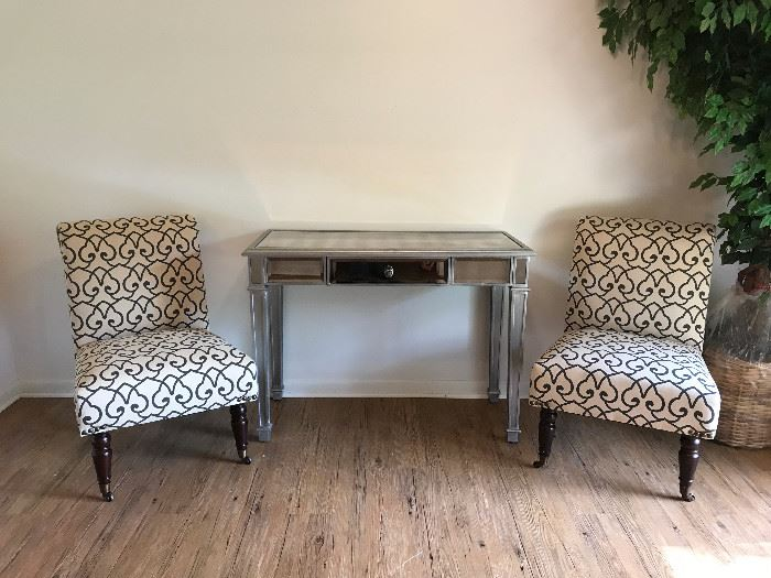Mirrored Vanity Desk Price $ 80. Decorative side chairs, $65 each.