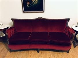 Velvet Red American Victorian Sofa (Tufted on the arms) $125