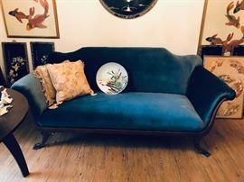 Blue Velvet American Victorian Sofa  $125