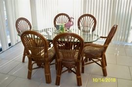 Southern Lifestyles - Oval Rattan with Glass top Table with 6 Chairs