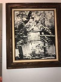 Morris Katz oil in black and white
