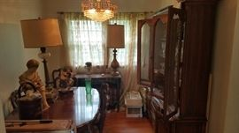 Antique French Provincial style Fruitwood Dinning Room Suite. Thomasville step back China Cabinet. Six Chairs. Hutch Server