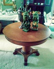 Beautiful Antique Pedestal Table, Vintage Foo Dogs