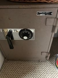 """Safe with combination. Major Combination Safe Model 1718 Fire Resistant Approx. 17"""" wide x 23"""" deep x 24"""" tall"""