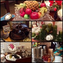 Vintage Tables, Dishes, Fostoria, Avocado Green Whitehall Cubed Indiana Glass, Crystal, China, Cut Glass, Tin, Wood, Linens & More