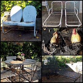 Wrought Iron Patio Set, Vintage Aluminum Patio Furniture, Iron Sconces, Pots & More