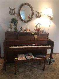 Kimball console piano, mirror