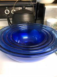 BLUE COBALT GLASS KITCHEN BOWLS