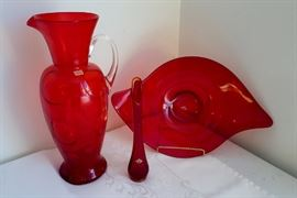 Viking ruby red glass man made including Danish Modern Swoosh platter