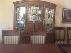 Dining room set with 10 chairs.