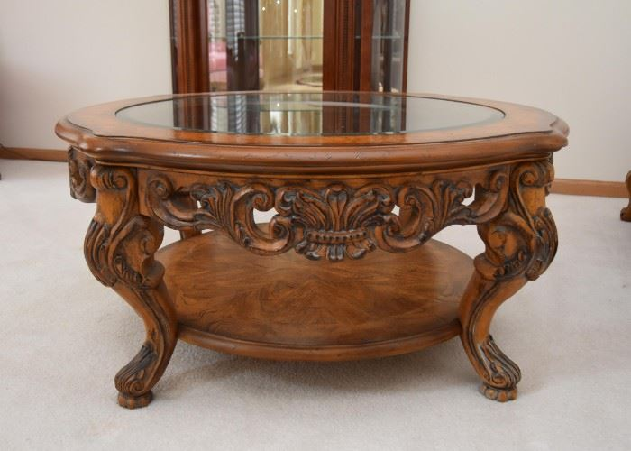 "Beautiful Carved Cocktail / Coffee Table with Glass Top (Approx. 42"" Dia x 20"" H)"
