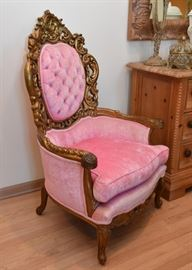 "PAIR of Ornate Gold Painted, Pink Upholstered Armchairs (Approx. 32"" W x 47"" H at the back)"
